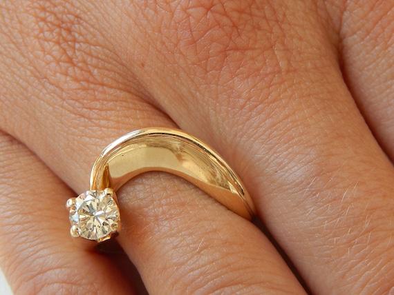 Diamond Ring - 14K Gold & Diamond Ladies Ring - E… - image 6