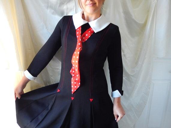 Vintage Mod Polyester Dress - Anjac Fashions Dress