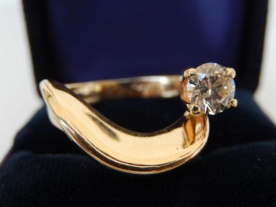 Diamond Ring - 14K Gold & Diamond Ladies Ring - E… - image 1