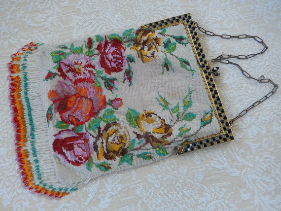 Antique Micro Beaded Purse - Victorian Floral Bead