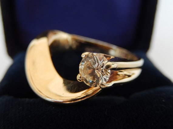 Diamond Ring - 14K Gold & Diamond Ladies Ring - E… - image 2