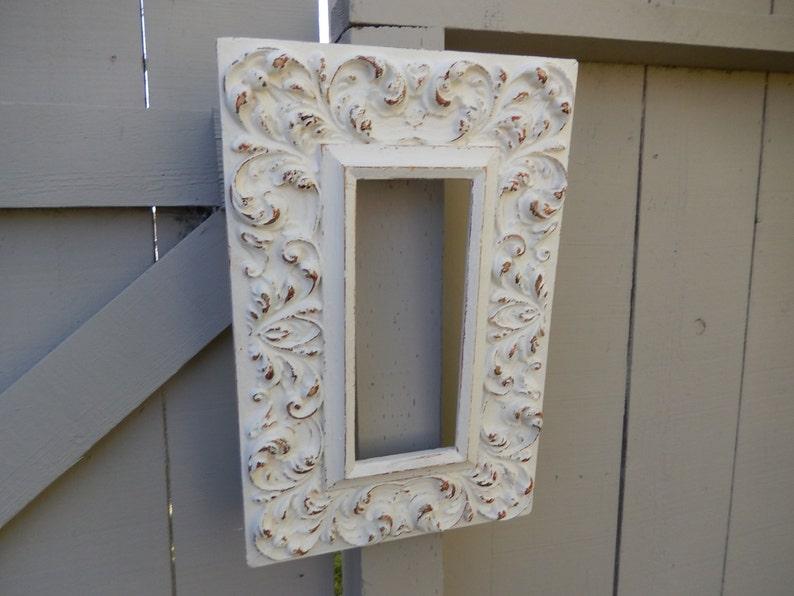 Painted White Frame Rectangular Frame Carved Wood Frame Ornate Vintage Frame Shabby White Frame