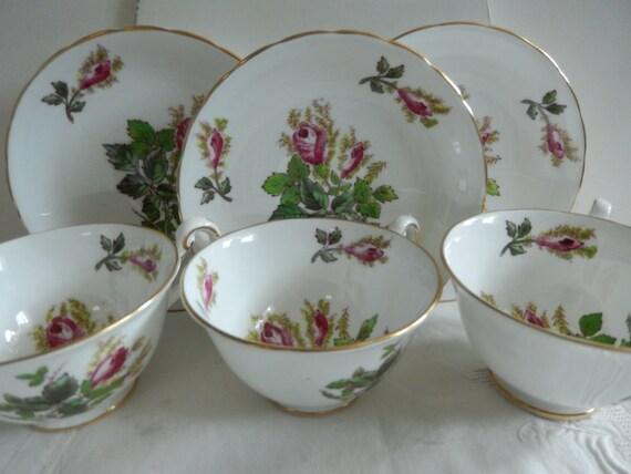 3 Tea Cups and Saucers - English Bone China - Vintage Tea Cups - Tea Party  China - Display China - Victorian Tea Cups and Saucers