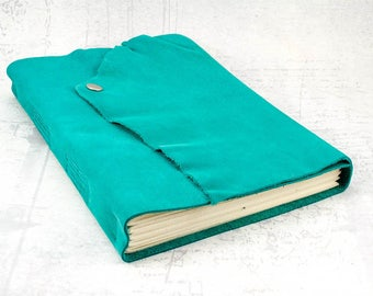Turquoise green leather journal, wedding guest book, gift for her, travel journal, photo album, bullet journal, mothers day gift
