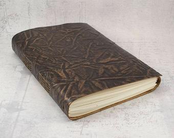 Dark brown bronze leather journal sketchbook, unique notebook A5, writing journal, travel journal