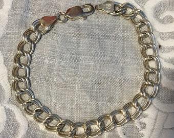 Vintage Sterling Silver Double LINK BRACELET. Claw Clasp on Sterling DOUBLE link Bracelet Made in Italy.