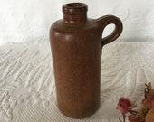 Vintage Stone Bottle. Yellow Ware Bottle. Yellow Ware Heavy Clay Bottle With Handle. Salt Glazed Stoneware.
