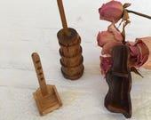 Vintage Miniature Wooden Doll House Decor. Butter Churn, Handled Wall Shelf, Corner Shelf. Wooden Miniature Room Decor.