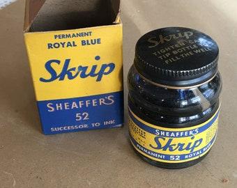 Vintage Sheaffers Skrip 2oz Bottled Jet Black Fountain Pen Ink 60ml *New In Box*