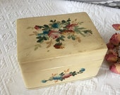 Vintage Off White Box With Painted Flowers. Three Section Box Dovetail Box, Well Made.