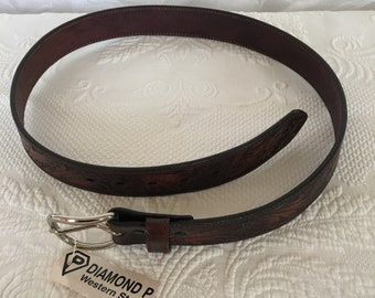 1ec4c0e8e112 Mans Resistol Full Grain Leather Belt Size 38. Genuine Stamped Leather With  Swirling Designs With Leaves and Flowers and a Border Design.