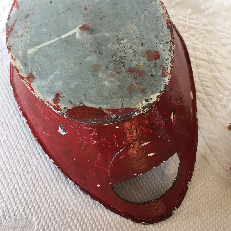 Rustic Construction Vintage Hand Made Oval Tin Container Painted Red Cut Out Handles on Ends Primitive Centerpiece Bowl.
