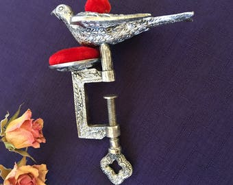 Vintage Silver Sewing Bird with Screw Clamp and Two Pin Cushions.  Victorian Sewing Bird a Sewers Helper. SEWING BIRD CLAMP