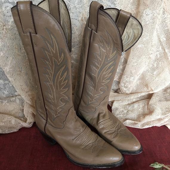 Vintage Beige Long Cowboy Boots. Beige Leather Lon
