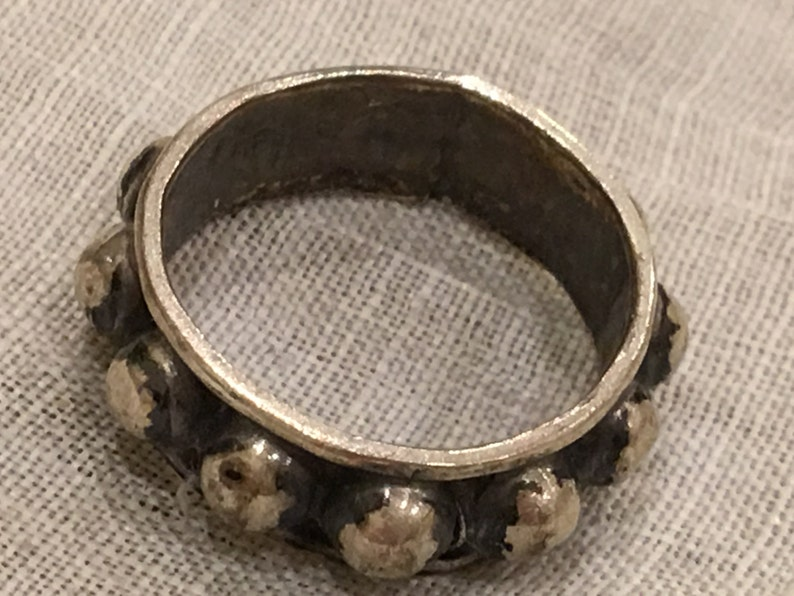 Pinky Ring in Sterling Silver. Vintage Sterling Silver Studded Ring from Mexico