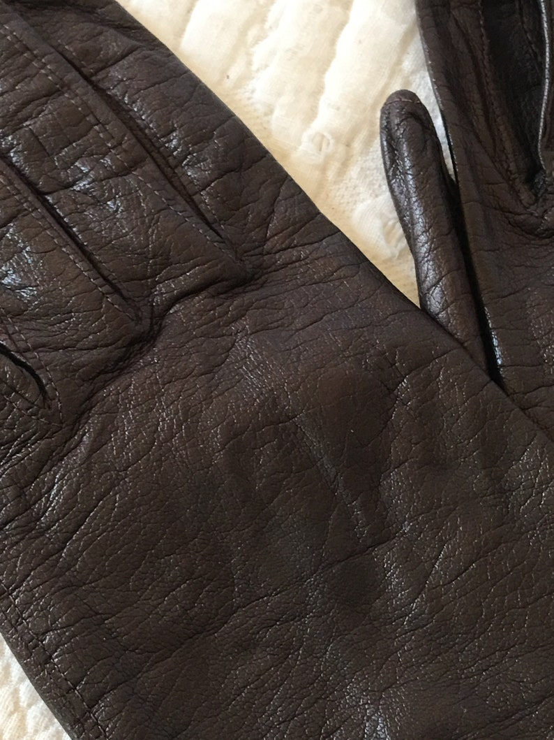 Pure Silk Lining Gloves by Superb Size 6 12 Vintage Brown Leather Gloves With Wrist Slit Vent Made in Italy.