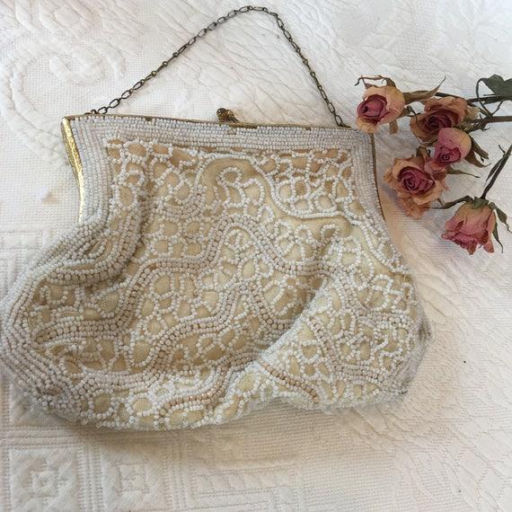 Vintage Seed Bead Bridal Purse. Creamy White Tiny