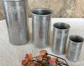 Vintage 4 Measuring Cups. 1000 cc, 500 cc, 200 cc, 100 cc.  Liters and Deci-liters. Cambosco, Boston Aluminum Measures.