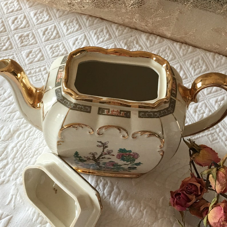 Hand Painted Fine Teapot Made in England Tree and Leaves Pink Flowers Beautiful Gold Accents Vintage Sadler Porcelain Teapot Exquisite.