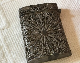 Vintage Sterling Silver Filigree Match Holder With Flip Up Lid. Can Be Polished. Purhased in England.