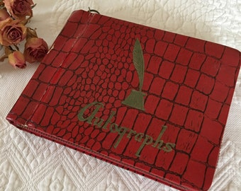 Vintage Autograph Album 1950s. Red Faux Alligator Designed Cover With Zipper. Many Empty Pages And Few Autographs.