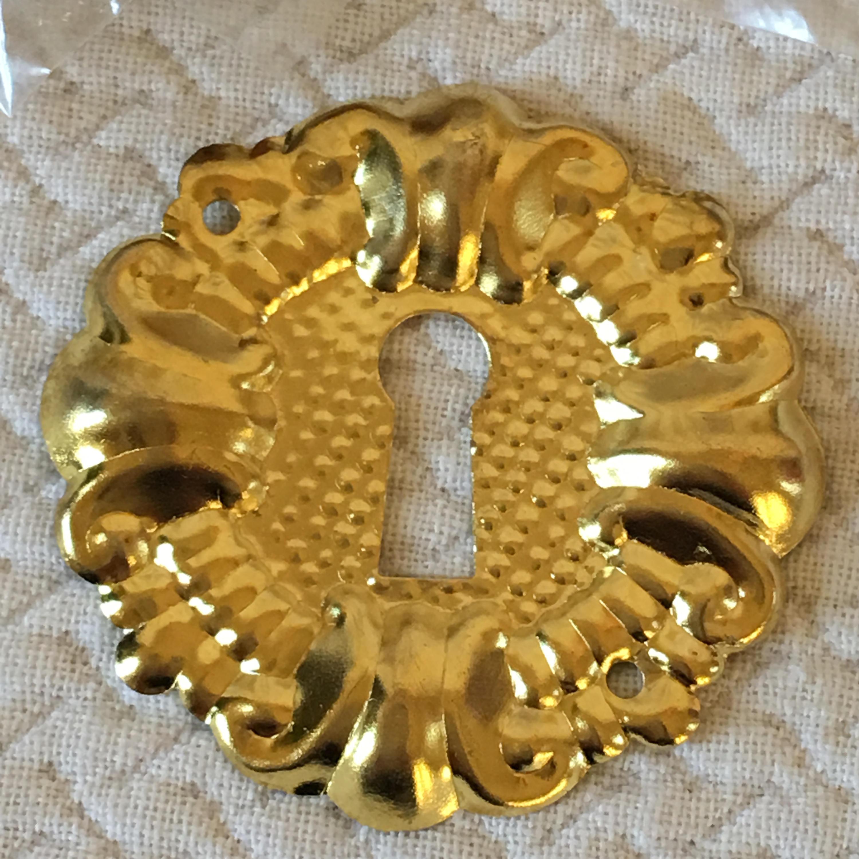 Vintage Gold Metal Decorative Key Hole Adornment. Listing for