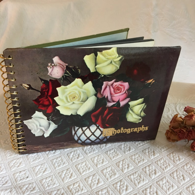 Vintage 1950s Floral Photograph Album With Black Pages and Index Page Vintage Album. Spiral Bound Beautiful Table Top Display Photo Album