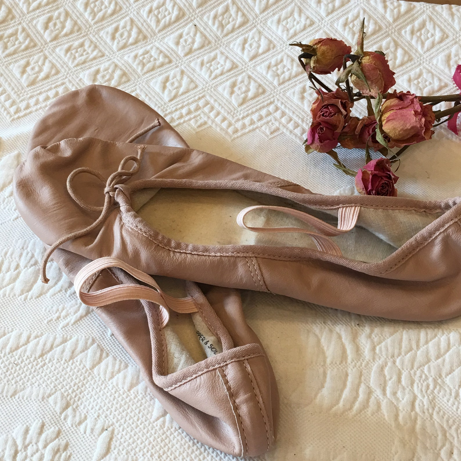 vintage pink ballet shoes size 8 1/2. leather upper and sole 8 1/2 c pink ballet shoes. not too worn. ballet dancers shoes