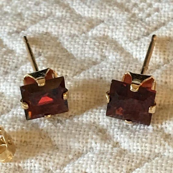 Vintage Garnet Stud Earrings In Gold Setting Kay Jewelers Etsy