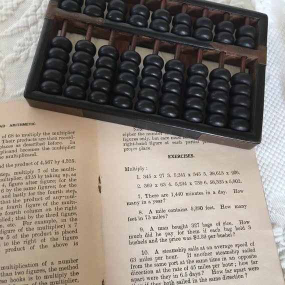 Instruction Vintage Chinese Wooden Bead Arithmetic Abacus W