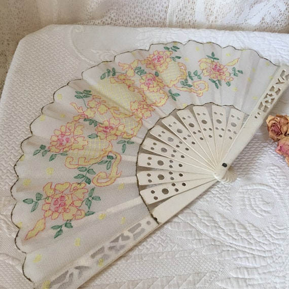 Vintage Openwork Wood Ribs and Guards Fan. Plastic