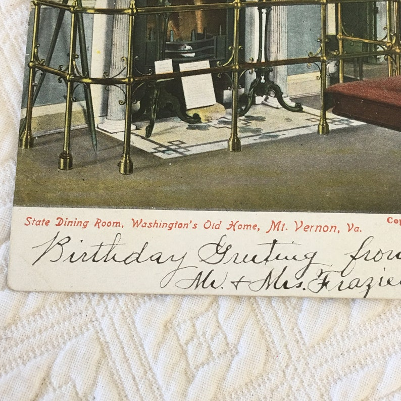 Washington/'s Old Home C 1908 Postcard With Stamp of State Dining Room Publisher. Victorian Mt MacFarlane W Vernon Post Card