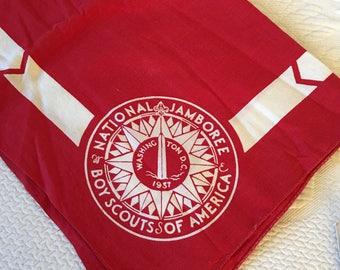 Vintage Boy Scout Red and White Scarf from the 1937 National Jamboree in Washington, DC. Unfaded With Instruction Leaflet in Great Shape.