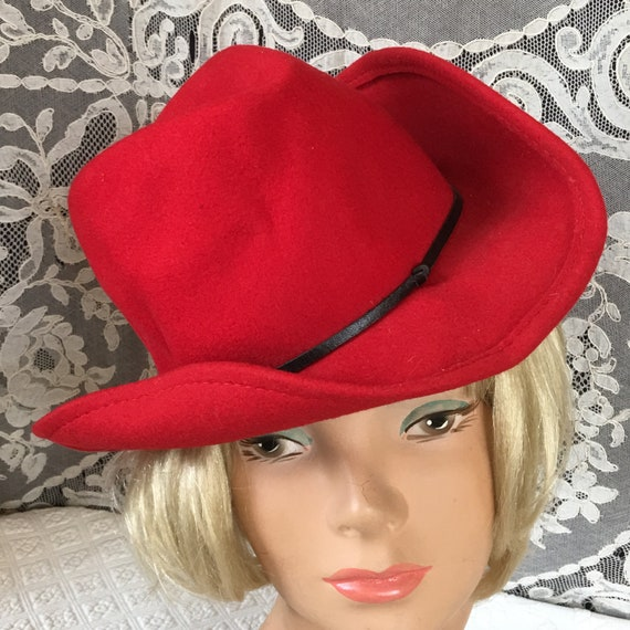 Vintage Red Wool Felt Cowgirl Style Hat. Woman s Wool Felt  38a15371bd3