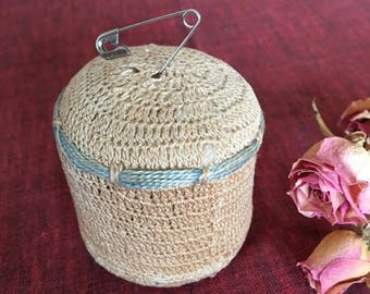 Vintage Pin Cushion. Crocheted Victorian Pin Cushion. Hassock Style Pin Cushion. Collectible Pin Cushion.