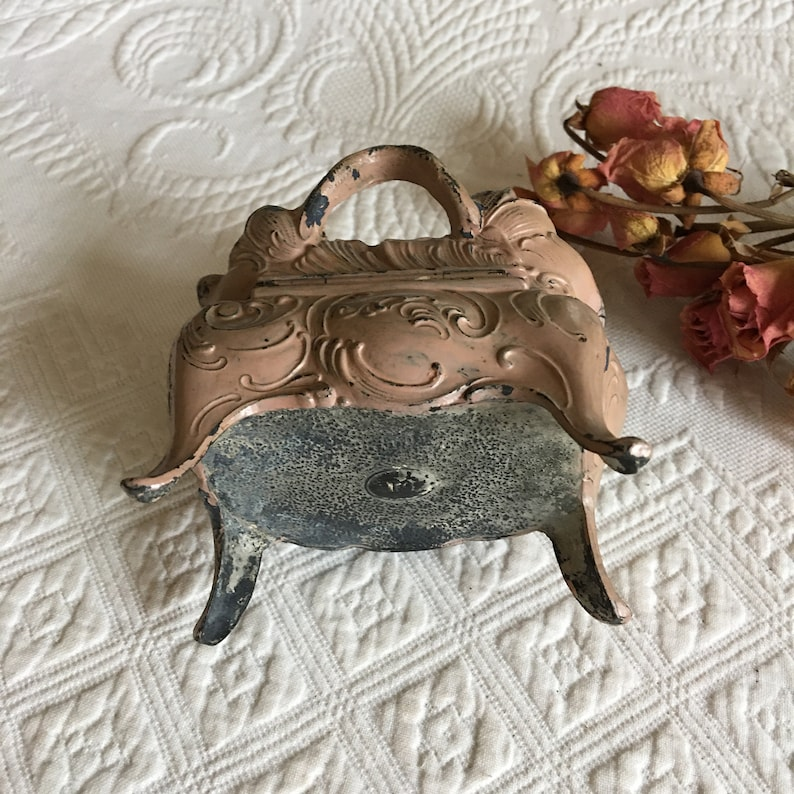 Vintage Jewelry Box Lined in Peach Silk and Cording Antiqued Tan on Black to Make This Charming Molded Roses Leaves and Stem Top Handle.