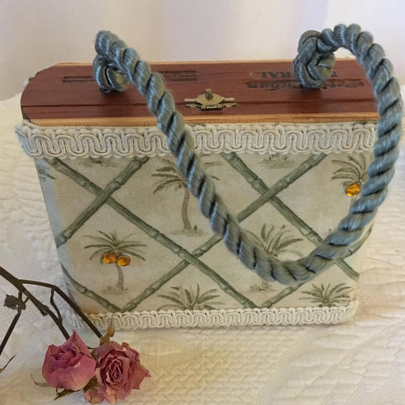 Vintage Wooden Cigar Box Purse Petit Cuban Natural Cigar Box Repurposed Into A Palm Tree Fabric Lined And Mirrored Purse