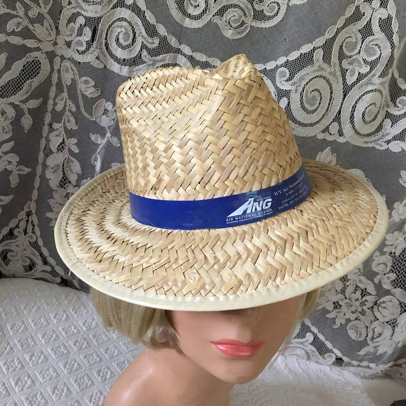 a7680555 Vintage Beige Mans Straw Sun Hat With Blue Hat Band. Natural | Etsy