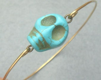 Fancy Turquoise Skull Bangle Bracelet Style2