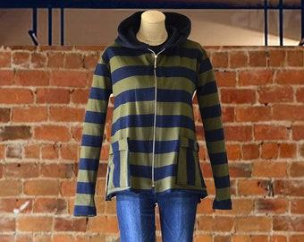 Women's Cotton Striped Jacket/Front Zip Hooded Jacket for women/Casual Jacket/Lightweight Jacket/Casual Outerwear/Women's Sportswear Jacket