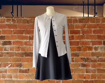 Gray Cardigan w/bow/Business Casual Cardigan/Cardigan to Wear to Work/Cute Cardigan Outfits / Audrey Hepburn Inspired Cardigan