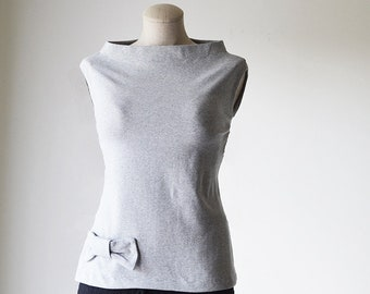 Gray Favorite Cotton T-shirt/Business Casual Top/ Casual T-Shirt/ Cotton Top