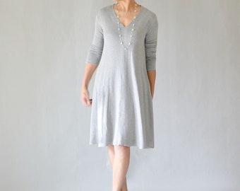 Bamboo Casual Gray V-Neck Dress /Tunic Dress/Business Casual Dresses/Date Night Dresses/Business Professional Attire/Lifestyle Dresses