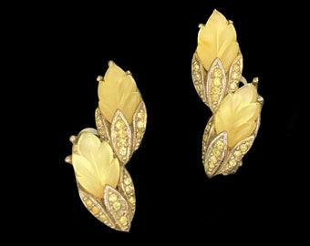 Sphinx Signed | Vintage 1950's | Thermoset Plastic | Yellow Rhinestone | Clip On | Floral Earrings