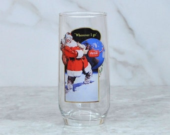 Vintage Coca-Cola Santa Christmas Glass, Wherever I Go!,  Collectible 12 oz. Glass, 1980's, 93761 Series 2, 1 of 3, Christmas, Soft Drink