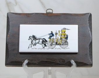 Vintage 1800s Fire Brigade Painted On Ceramic Tile With Wooden Base 1960-70s, Fire Truck, Steam Engine, Firefighters, Horses, Fire Engine