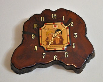 Vintage Tree Trunk 1970s Battery Operated Wall Clock With Love Is Cartoon In Center, Rustic, Woodland, Tree Log, Cedar Wood, Log Cabin