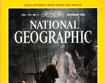 Vintage National Geographic Magazine, November 1988, Vol 174 No 5, With Map, Exploring The Earth