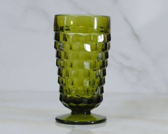 Vintage Avocado Green, Footed, Glass Goblet,1970s, Indiana Whitehall Colony