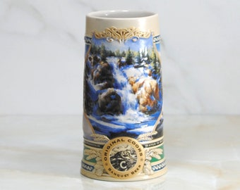 Vintage Beer Stein, Coors Brewing Company, Rocky Mountain Waterfall, Winter 1995, Heritage Collector's Series